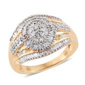 Diamond 14K YG Over Sterling Silver Ring (Size 7.0) TDiaWt 1.00 cts, TGW 1.00 cts.