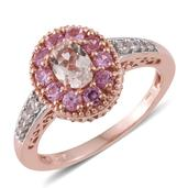 TLV Marropino Morganite, Madagascar Pink Sapphire 14K RG Over Sterling Silver Ring (Size 8.0) TGW 1.76 cts.