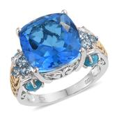 Caribbean Quartz, Arizona Sleeping Beauty Turquoise, Electric Blue Topaz 14K YG and Platinum Over Sterling Silver Ring (Size 10.0) TGW 13.67 cts.