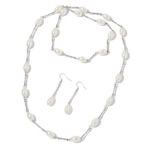 Simulated White Pearl, Glass Beads Stainless Steel Earrings and Necklace (38 in)