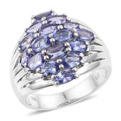 Tanzanite Platinum Over Sterling Silver Cluster Cuff Ring (Size 7.0) TGW 3.76 cts.