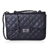 Black Quilted Pattern Crossbody Bag (10.3x3x7.2 in)