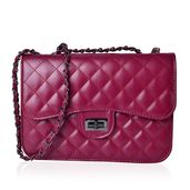 Red Quilted Pattern Crossbody Bag (10.3x3x7.2 in)