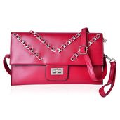 Red Chevron Pattern Handbag with Removable Strap & Lock (11.3x7 in)