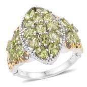 Hebei Peridot 14K YG and Platinum Over Sterling Silver Ring (Size 5.0) TGW 4.52 cts.