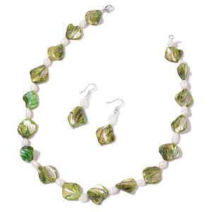 Green Shell, Freshwater Pearl Sterling Silver Earrings and Necklace (18 in)