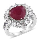 Niassa Ruby, Tanzanite, White Topaz Platinum Over Sterling Silver Heart Ring (Size 6.0) TGW 11.53 cts.