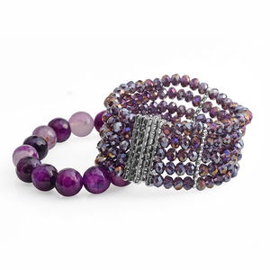Purple Glass, Purple Agate, White Austrian Crystal Silvertone Set of 2 Bracelet (Stretchable) TGW 401.50 cts.