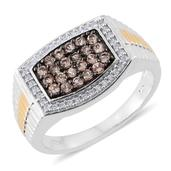 Imperial Topaz, Cambodian Zircon 14K YG and Platinum Over Sterling Silver Men's Ring (Size 12.0) TGW 1.39 cts.