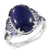 Lapis Lazuli, Catalina Iolite, Thai Black Spinel Platinum Over Sterling Silver Ring (Size 8.0) TGW 10.76 cts.