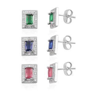 Set of 3 Simulated Multi Color Diamond Silvertone Stud Earrings TGW 9.36 cts.