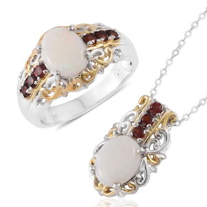 Australian White Opal, Mozambique Garnet 14K YG and Platinum Over Sterling Silver Ring (Size 7) and Pendant With Chain (20 in) TGW 3.74 cts.