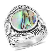 Abalone Shell Black Oxidized Stainless Steel Ring (Size 7.0)