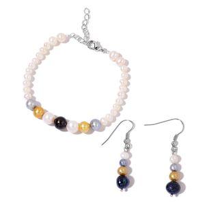 Freshwater Multi Color Pearl Stainless Steel Earrings and Bracelet (7.00 In)