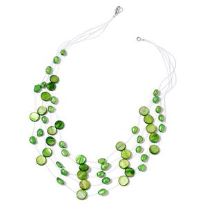 Green Shell, Freshwater Green Pearl Sterling Silver Floating Necklace (18 in)