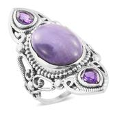 Artisan Crafted Utah Tiffany Stone, Amethyst Sterling Silver Ring (Size 6.0) TGW 9.98 cts.