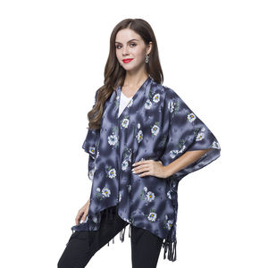 Black, Blue and White Floral Pattern 100% Viscose Kimono  with Fringes (One Size)