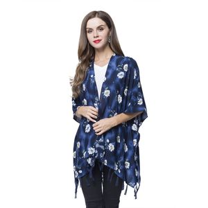 Navy Blue and White Floral Pattern 100% Viscose Kimono with Fringes (One Size)