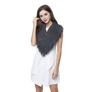 Slate Blue 100% Acrylic V-Shape Button Design Infinity Scarf with Fringes (40x10)