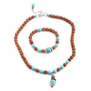 Ganitrus, Blue Howlite Beads Silvertone Necklace and Bracelet (Stretchable)