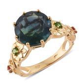Belgian Teal Fluorite, Russian Diopside, Jalisco Cherry Fire Opal 14K YG Over Sterling Silver Ring (Size 8.0) TGW 7.80 cts.