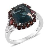 Belgian Teal Fluorite, Mozambique Garnet Platinum Over Sterling Silver Split Ring (Size 11.0) TGW 7.76 cts.
