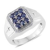 Masoala Sapphire, Cambodian Zircon Platinum Over Sterling Silver Men's Ring (Size 12.0) TGW 3.07 cts.