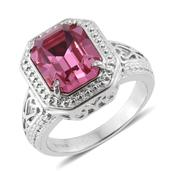 Stainless Steel Ring (Size 7.0) Made with SWAROVSKI Rose Crystal TGW 5.40 cts.