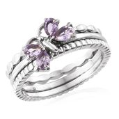 Set of 3 Rose De France Amethyst Stainless Steel Butterfly Stackable Rings (Size 8.0) TGW 0.68 cts.