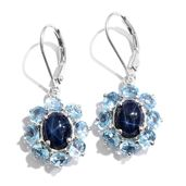 Thai Blue Star Sapphire, Electric Blue Topaz Platinum Over Sterling Silver Lever Back Earrings TGW 7.94 cts.