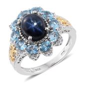 Thai Blue Star Sapphire, Electric Blue Topaz, Cambodian Zircon 14K YG and Platinum Over Sterling Silver Ring (Size 8.0) TGW 6.55 cts.
