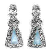 Bali Legacy Collection Larimar Sterling Silver Earrings TGW 13.00 cts.