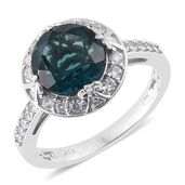 Belgian Teal Fluorite, Cambodian Zircon Platinum Over Sterling Silver Ring (Size 6.0) TGW 5.60 cts.