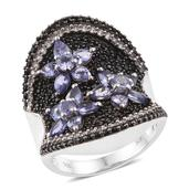 Tanzanite, Thai Black Spinel, Cambodian Zircon Black Rhodium & Platinum Over Sterling Silver Midnight Floral Concave Ring (Size 7.0) TGW 5.21 cts.