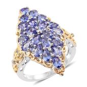 Tanzanite, Cambodian Zircon 14K YG and Platinum Over Sterling Silver Elongated Ring (Size 8.0) TGW 4.18 cts.