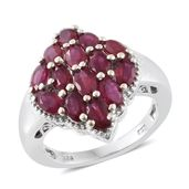 Niassa Ruby Platinum Over Sterling Silver Dome Pattern Ring (Size 5.0) TGW 5.00 cts.
