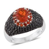 Crimson Fire Opal, Thai Black Spinel Platinum Over Sterling Silver Ring (Size 7.0) TGW 3.74 cts.