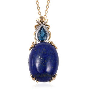 Lapis Lazuli, London Blue Topaz 14K YG Over Sterling Silver Drop Pendant With Chain (18 in) TGW 10.02 cts.