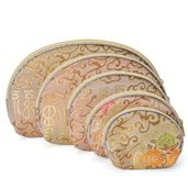 Set of 5 Satin Multi Use Zipper Nesting Pouches with Floral Scroll Embroidery-Golden