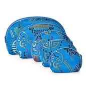 Set of 5 Satin Multi Use Zipper Nesting Pouches with Tribal Art Embroidery-Teal