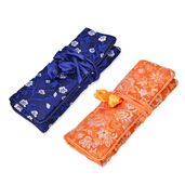 Embroidered Navy and Orange Polyester and Silk Jewelry Roll Travel Organizer Bag (10.5x8 in)