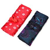 Embroidered Red and Black Polyester and Silk Jewelry Roll Travel Organizer Bag (10.5x8 in)