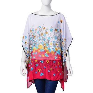 White and Red Floral Print 100% Polyester Poncho (56x40 in)