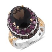 GP Brazilian Smoky Quartz, Orissa Rhodolite Garnet 14K YG and Platinum Over Sterling Silver Ring (Size 7.0) TGW 13.14 cts.
