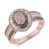 Natural Pink Diamond, Champagne Diamond Black Rhodium, 14K RG Over Sterling Silver Ring (Size 7.0) TDiaWt 1.00 cts, TGW 1.00 cts.