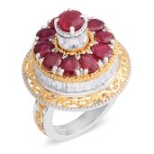 Niassa Ruby, White Topaz 14K YG and Platinum Over Sterling Silver Openwork Carousel Spinner Ring (Size 8.0) TGW 10.03 cts.