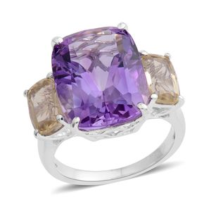 Web Exclusive Doorbuster Amethyst, Brazilian Green Gold Quartz Sterling Silver Ring (Size 7.0) TGW 12.61 cts.