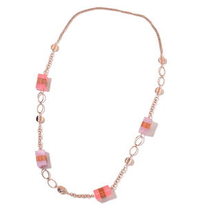 Pink Chroma, Wooden Rosetone Necklace (42 in)