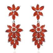 Crimson Fire Opal Platinum Over Sterling Silver Earrings TGW 3.56 cts.