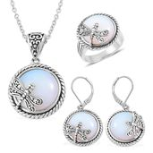 Opalite Black Oxidized Stainless Steel Lever Back Earrings, Ring (Size 6) and Pendant With Chain (20 in) TGW 85.00 cts.